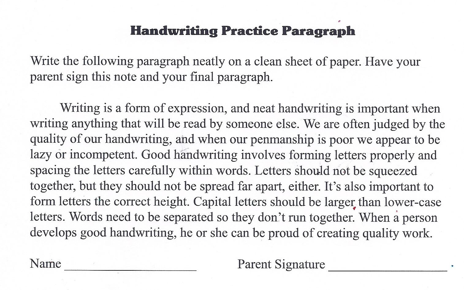 Handwriting Practice Paragraph I Found This On