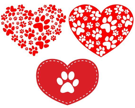 Download Paw Prints Heart SVG, Dog Paw Svg, Dog Love, Silhouette ...