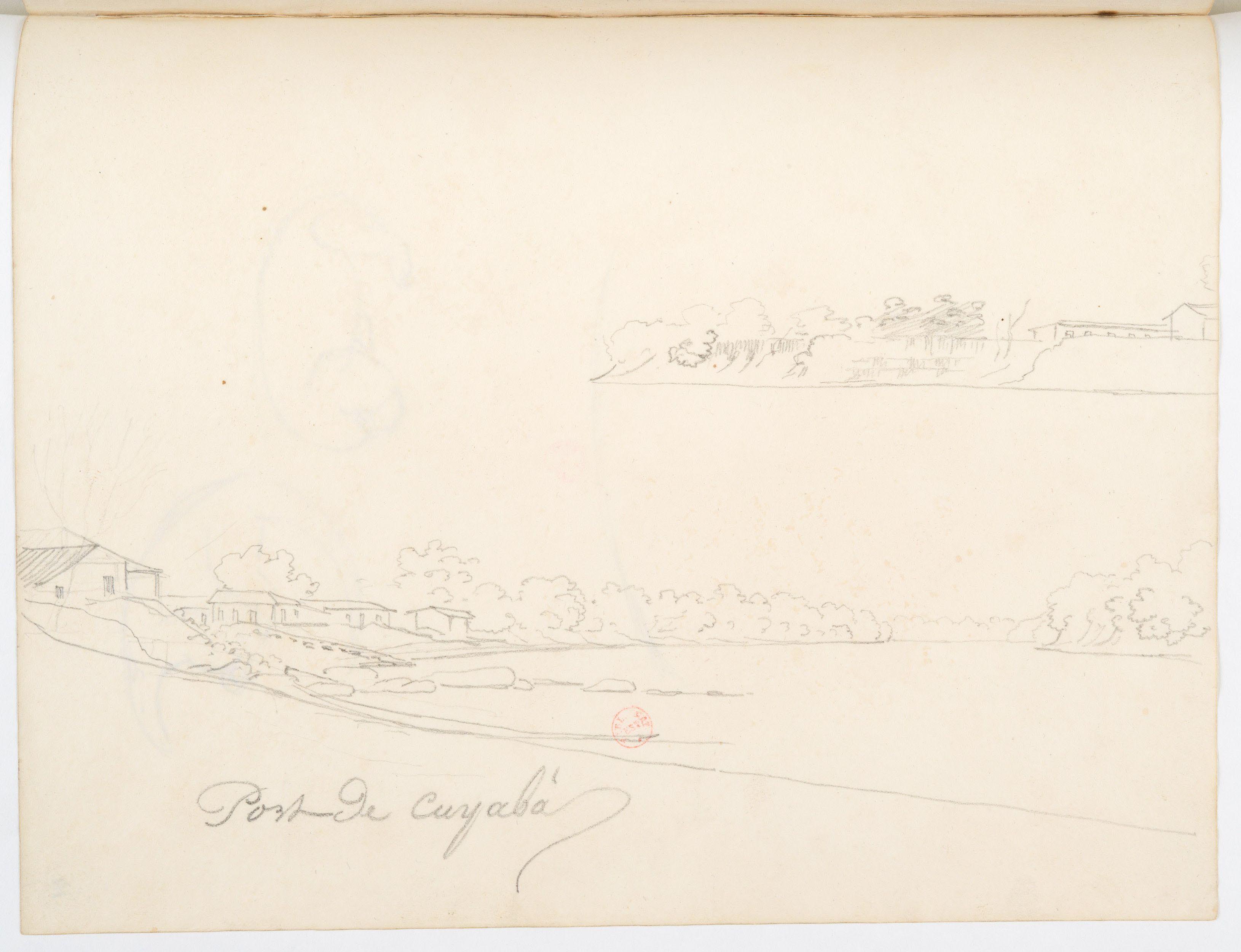 FLORENCE, Hercule -  Port de Cuyabá [Desenho do Carnet de dessins] - [1827] - Grafite sobre papel - 19,3 x 24,7 cm - Coleção Bibliothèque Nationale de France (Paris)