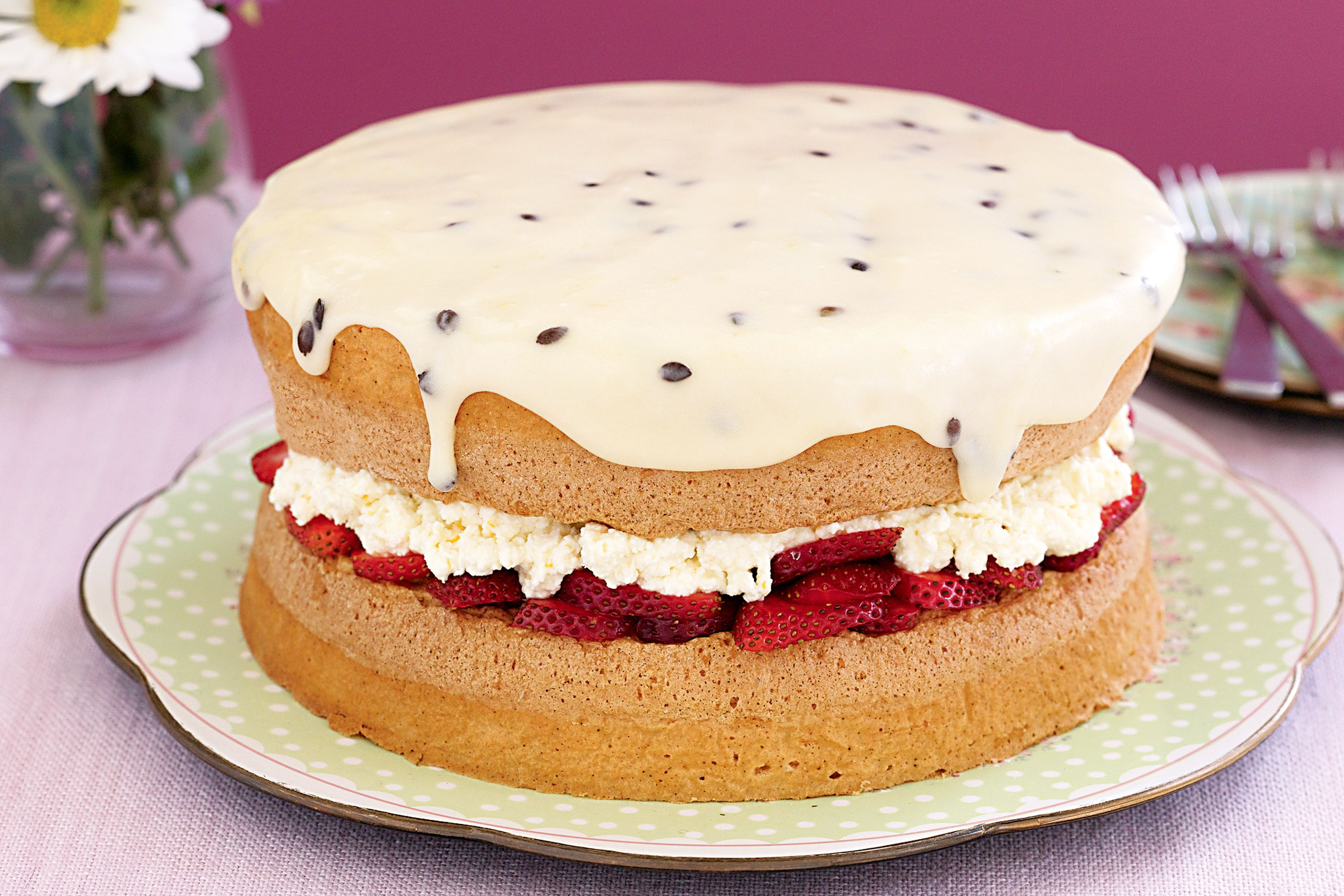 Ricotta And Berry Sponge Cake Projects To Try Sponge Cake