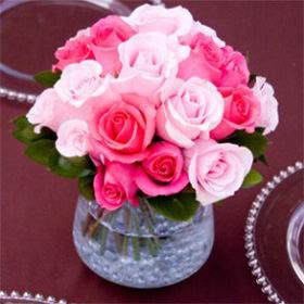 Gorgeous Dark Pink And Light Pink Royal Wedding Rose Centerpieces