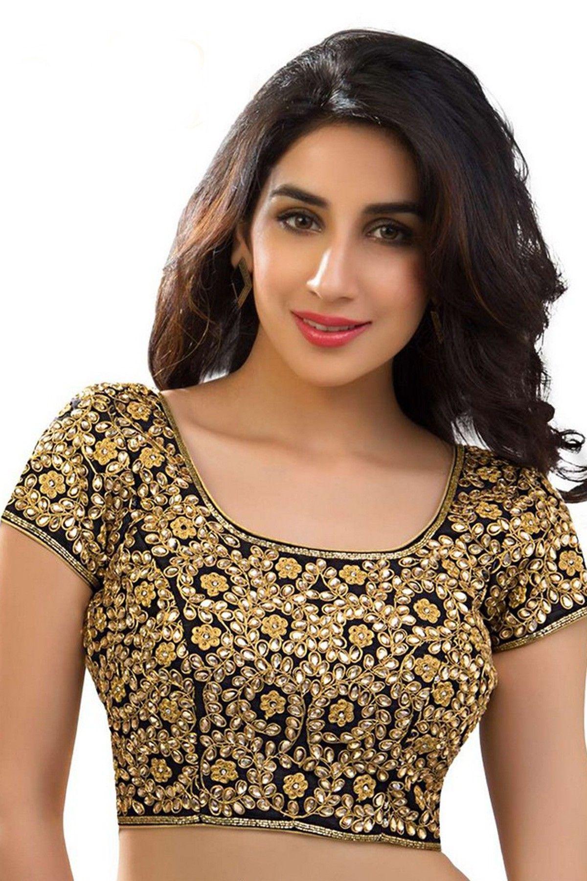 772f097e1eb4b6 Black   yellowish gold raw silk lovely blouse with u neck -BL572 ...