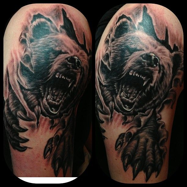 Leaves And Roaring Bear Tattoos On Half Sleeve Tattoo Ideas Bear Tattoos Bear Tattoo Designs Chicago Bears Tattoo