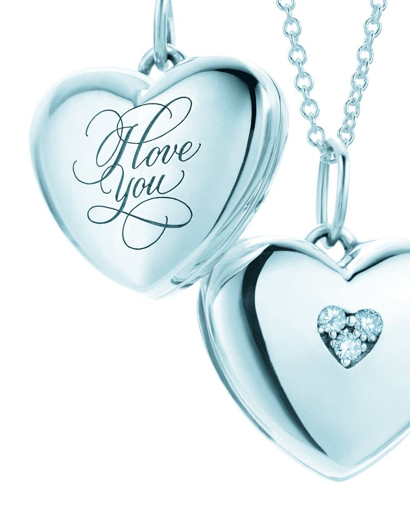 "c93984eba9 For the perfect couple's portrait. Heart lockets in sterling silver. From  left: ""I Love You"" and with diamonds."