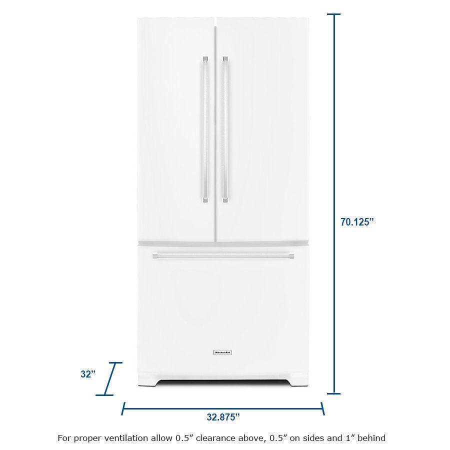 Kitchenaid 221 Cu Ft 3 Door French Door Refrigerator Single Ice