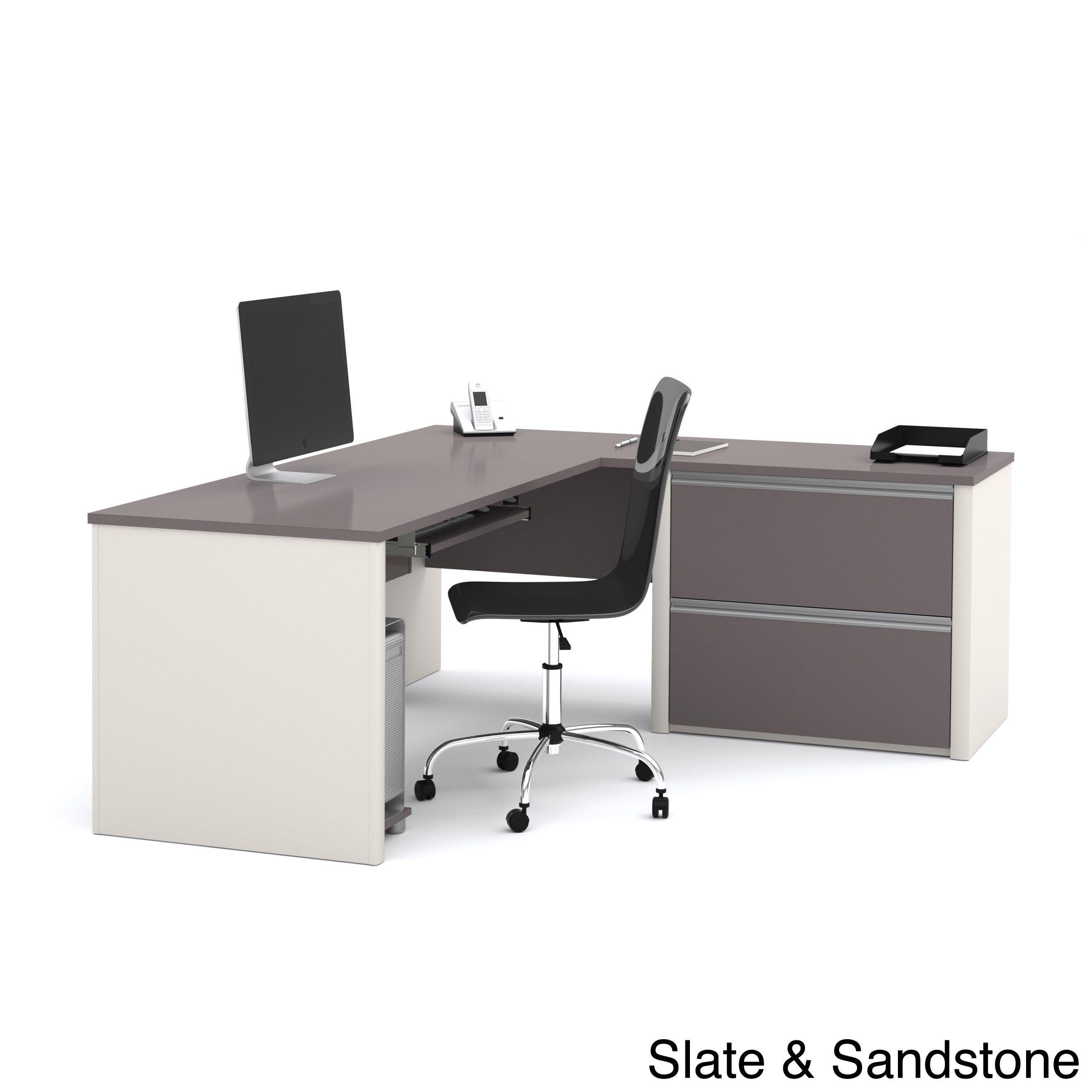 Bestar connexion ldesk with oversized pedestal by bestar desks