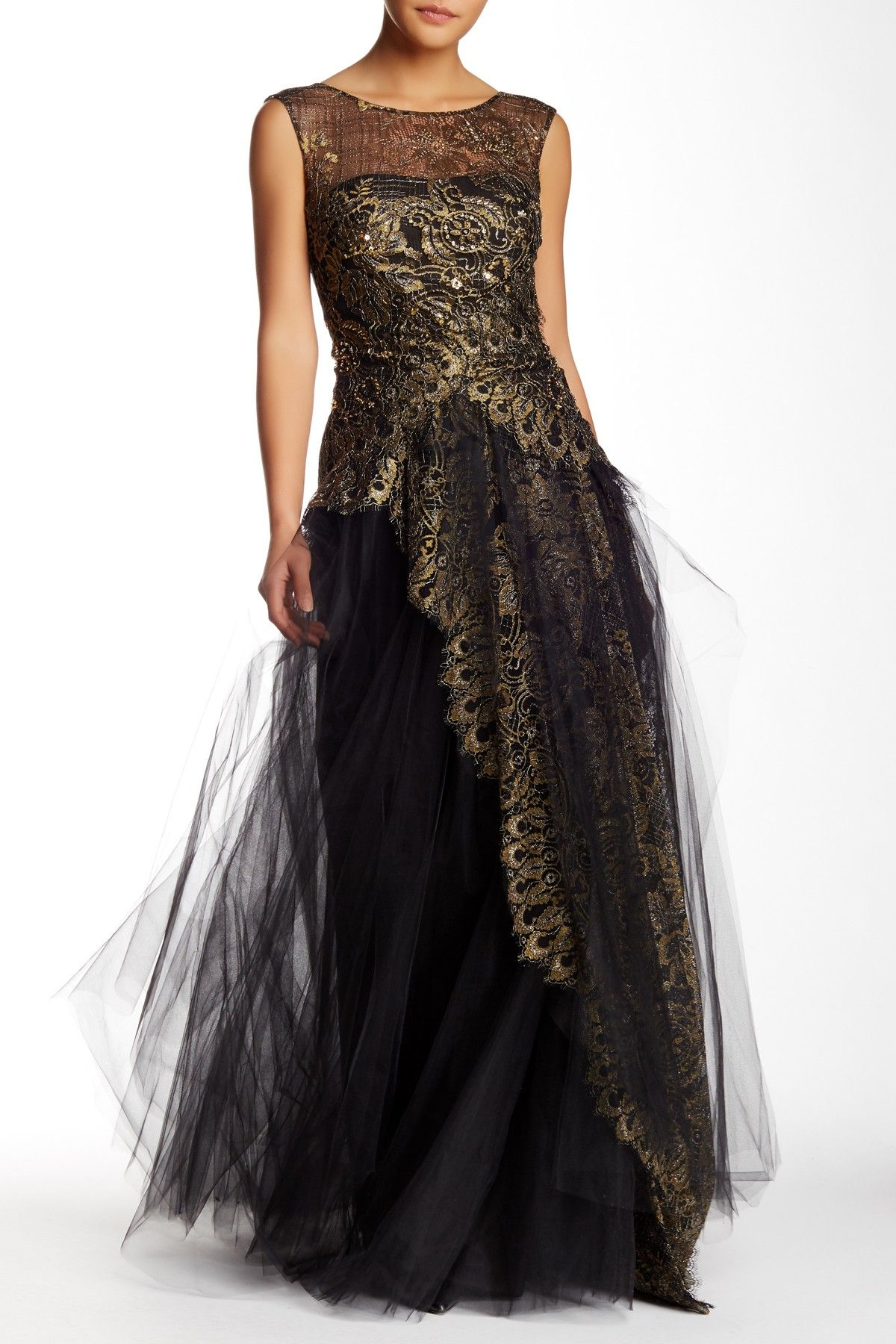 38a5c176b54d Marchesa Notte | Lace and Tulle Full Length Gown | Nordstrom Rack Sponsored  by Nordstrom Rack.