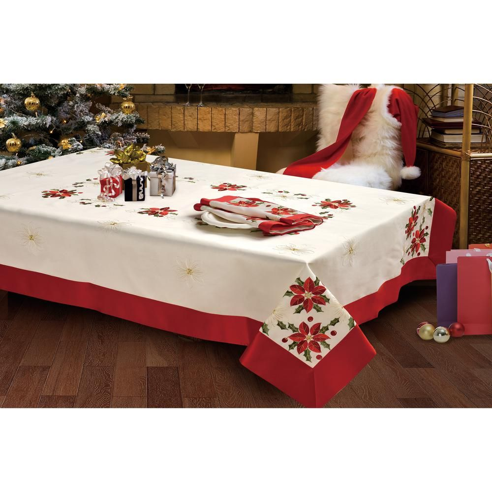 Holiday 54 In X 72 In Poinsettia Embroidered Rectangular