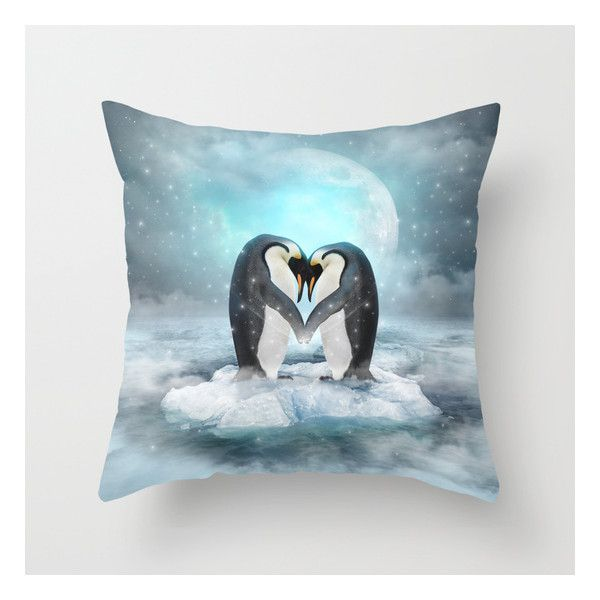 Listen Hard (penguin Dreams) Throw Pillow (£15) ❤ liked on Polyvore featuring home, home decor, throw pillows, anchor home decor, animal throw pillows and anchor throw pillow