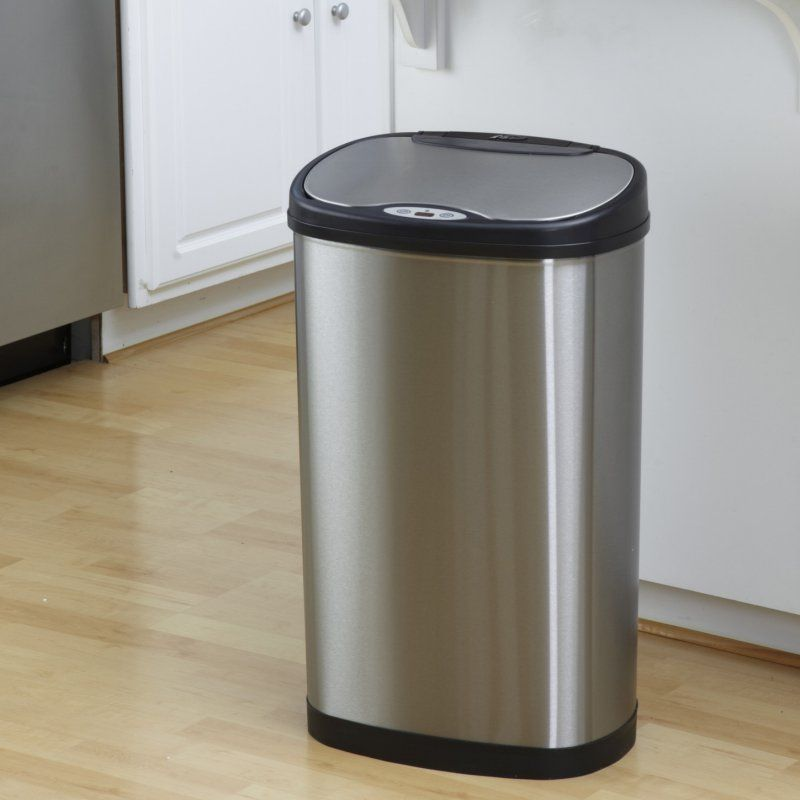 nine stars dzt 50 13 touchless stainless steel 13 2 gallon trash can rh pinterest com touchless kitchen trash can reviews touchless kitchen trash cans slate color