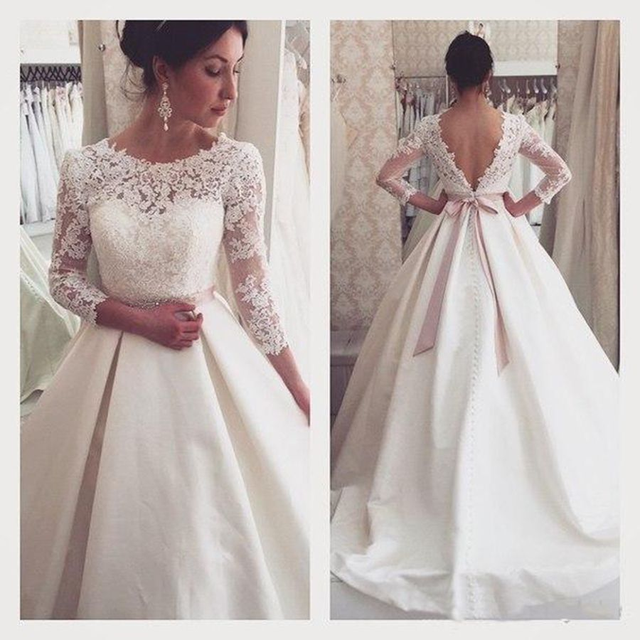 Vintage Beaded Lace Satin Empire Long Sleeve Wedding Dresses Women ...