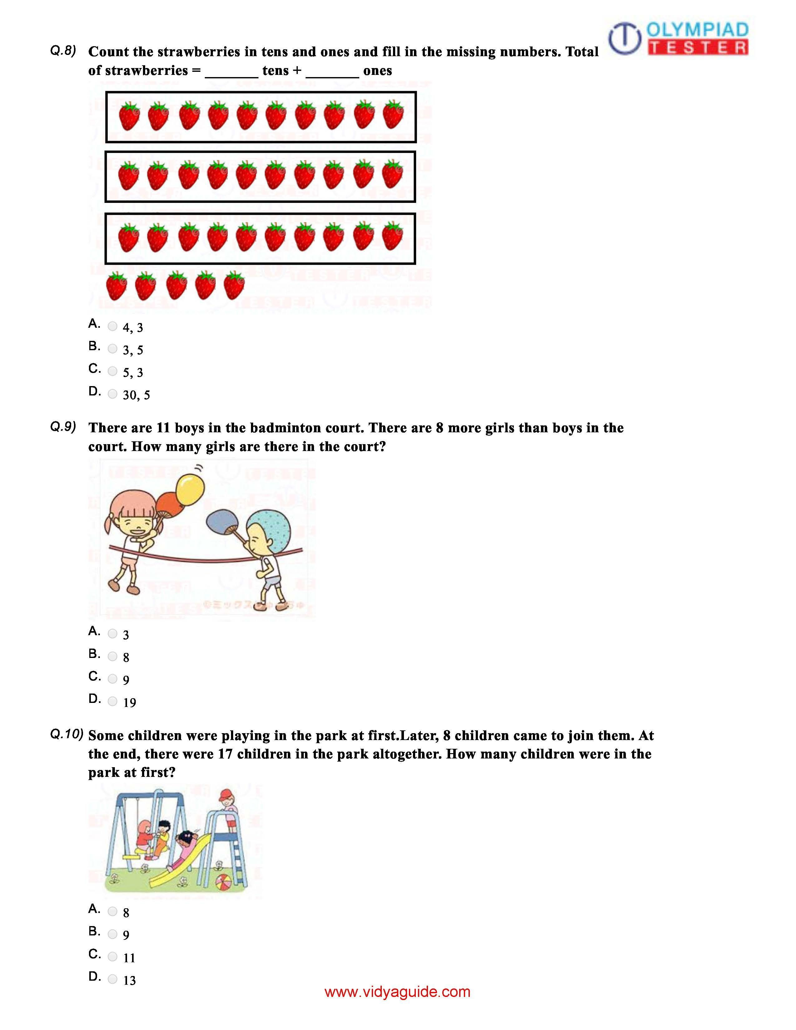 Download Five Grade 1 Maths Olympiad Sample Papers As