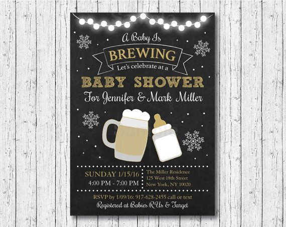 winter baby is brewing baby shower invitation / beer baby shower, Baby shower invitations