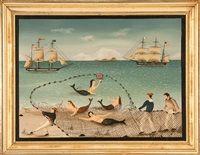 Three sailors hauling in a fishing net von Ralph Eugene Cahoon Jr.