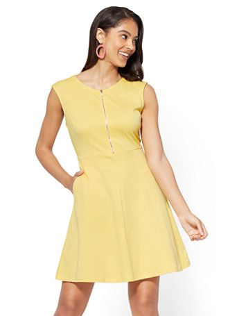 80bd562f0 Shop Cotton Zip-Front Fit   Flare Dress. Find your perfect size online at  the best price at New York   Company.
