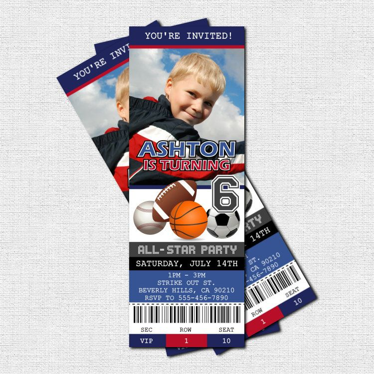 sports ticket invitation all star birthday party thank you card