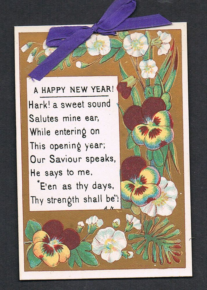 Victorian New Year\'s Card~1877~Bible Verse Quote~Pansies~Purple ...