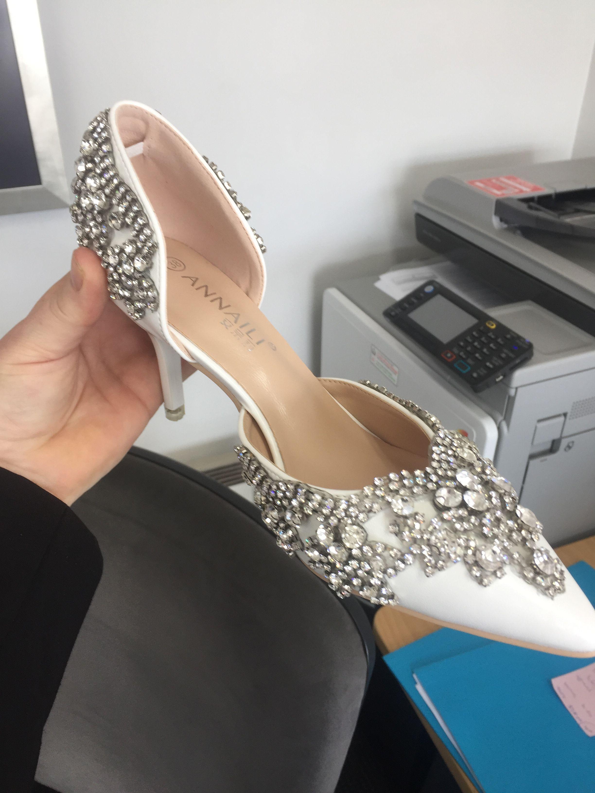 5598ad0893 Women's Closed Toe Pumps Sandals Stiletto Heel Leatherette Rhinestone  Wedding Shoes