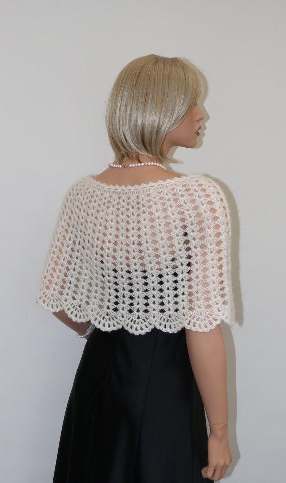 Knit to Order. Crochet Mohair ivory wedding bridal shrug shawl wrap, bridesmaid shrug capelet poncho, wedding accessories. Size S – XL