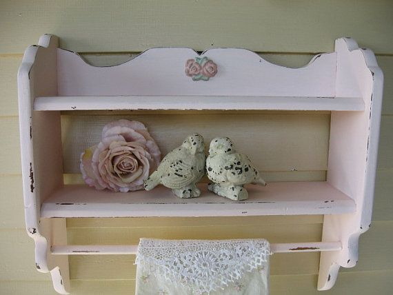 Vintage Pink wooden Bathroom Shelf Shabby Chic by Fannypippin. Vintage Pink wooden Bathroom Shelf  Shabby Chic Baby Girl Pink