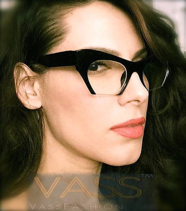 RETRO Cat Eye Style HALF CUT OFF Clear Lens EYE GLASSES Black Frame PINK TEMPLES