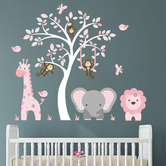jungle decal, blush pink and grey nursery decor. baby girls safari