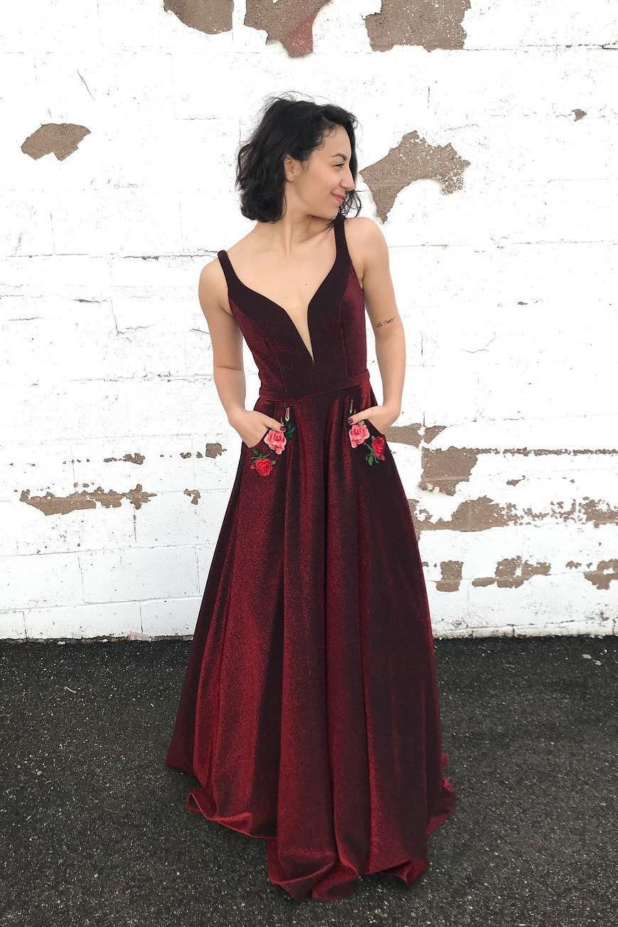 Gorgeous aline burgundy long prom dress with pockets if i had