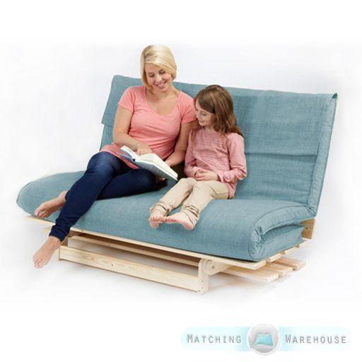 Double 2 3 Seater Textured Fabric Wood Futon Base Foam Mattress Sofa Bed