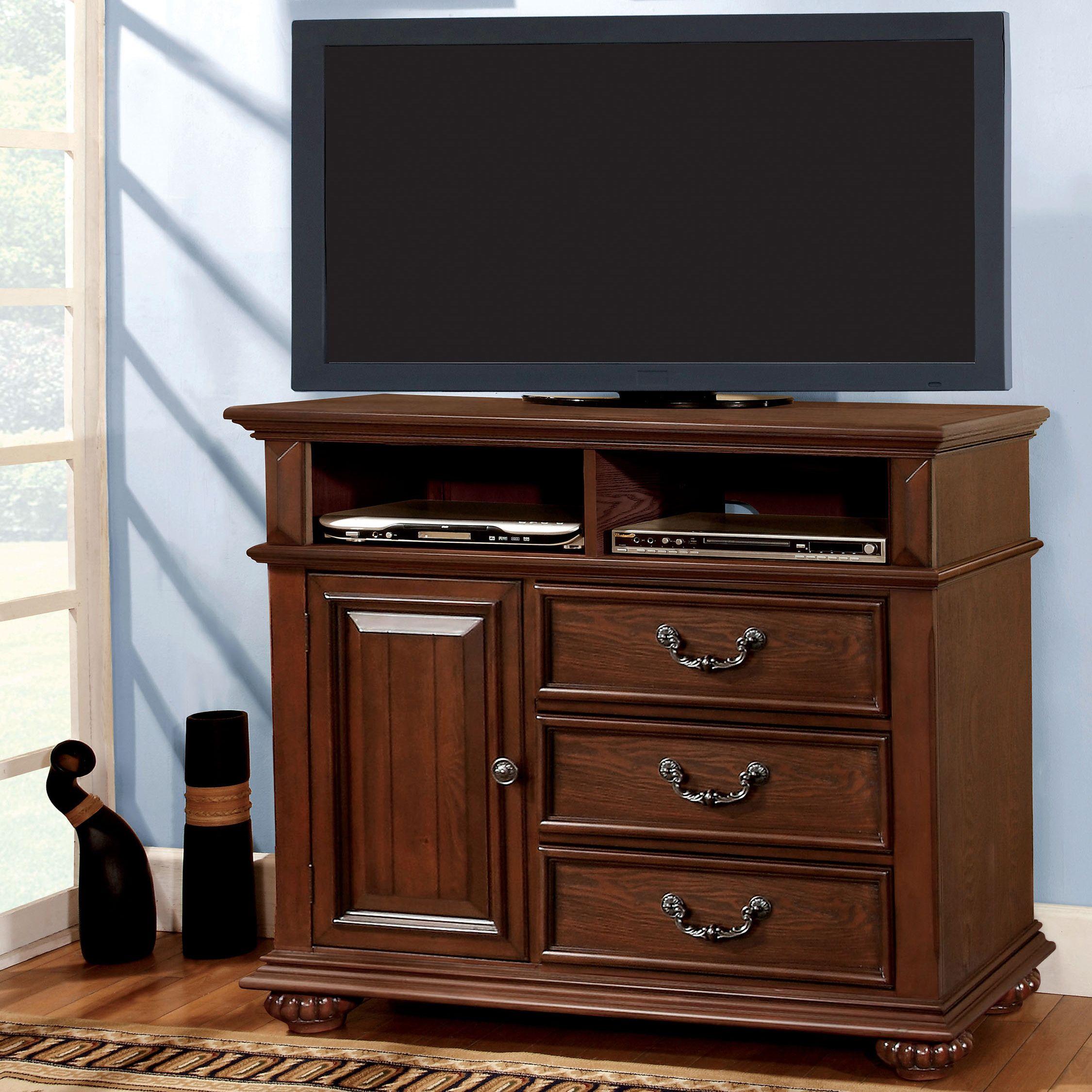 Furniture of america barath antique dark oak brown media chest