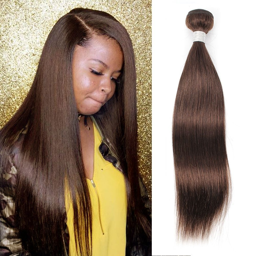 Bobbi Collection Color 4 Chocolate Brown Straight Hair 2 3 Bundles