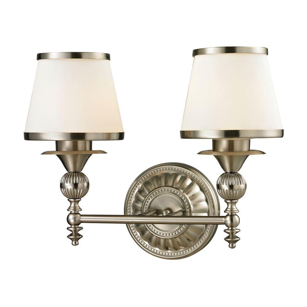 Photo of Titan Lighting Cornhill 2-light LED bathroom lamp made of brushed nickel TN-31032 – The Home Depot