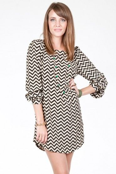 Such a great dress. You can wear it year-round. Love the chevron pattern and the simple style. Reminds me of 1960s dresses. Great with tights or boots. Biddy Craft