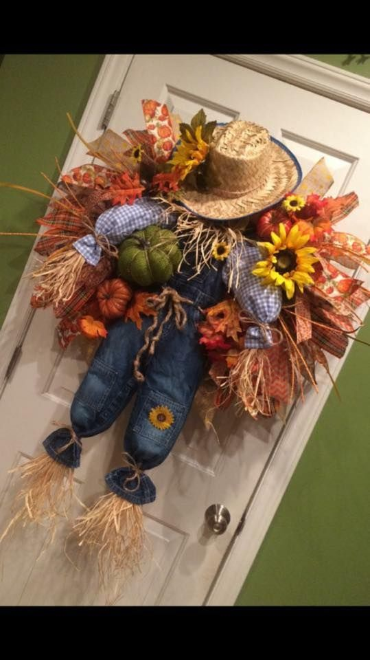 Image may contain: flower #scarecrowwreath