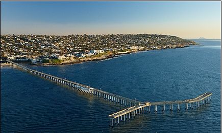 A nice aerial image of ocean beach caocean beach pier san for Surf fishing san diego