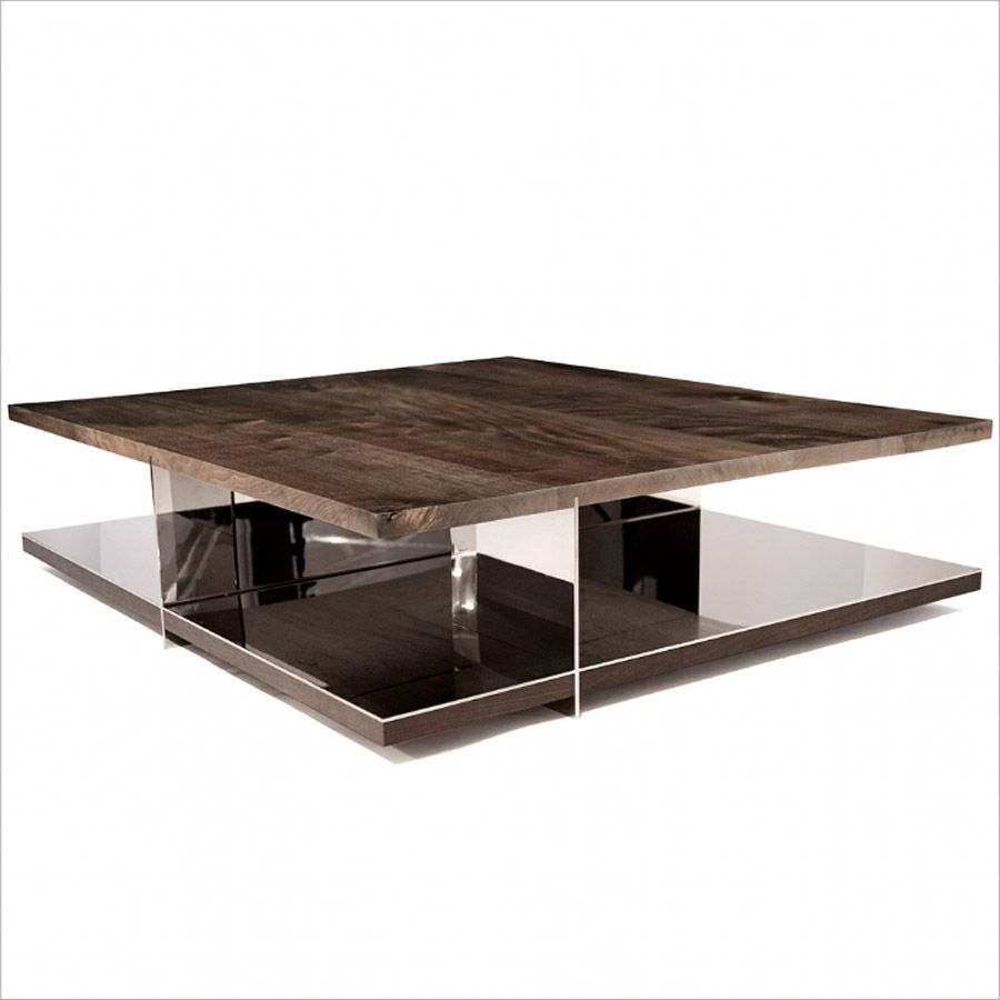 Grid Coffee Table High Polished Bronze Base With Seamed