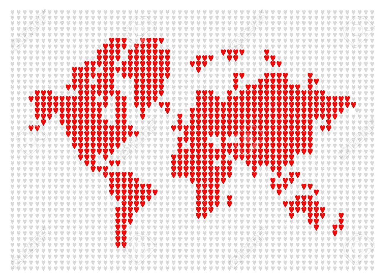 World Map Knitted For Your Design Royalty Free Cliparts