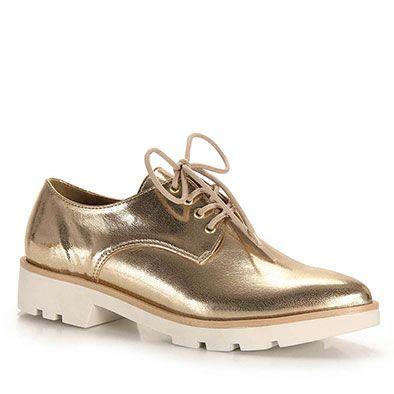 2cb901813 Sapato Oxford Feminino Brenda Lee - Dourado(A) … | Oxford | Sapat…