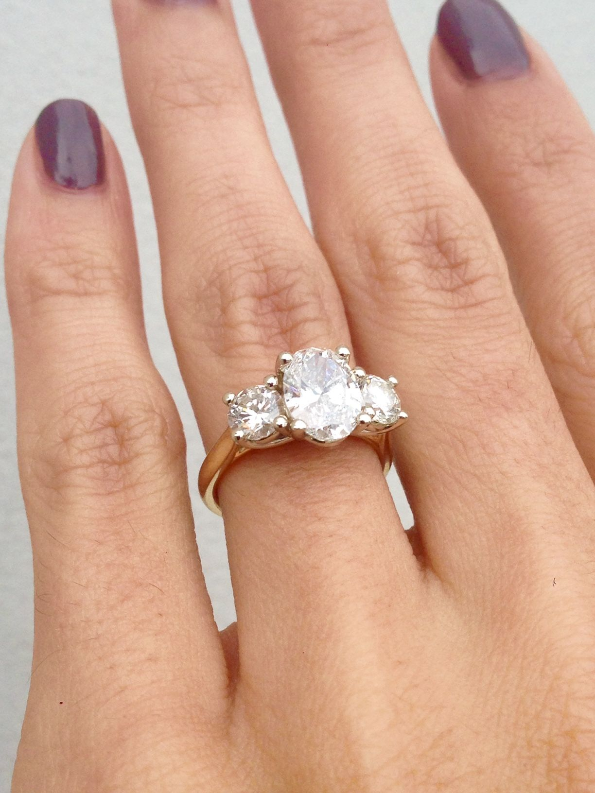30292913e30a5 Oval 3 Stone Engagement Ring, Yellow gold Oval Engagement Ring ...