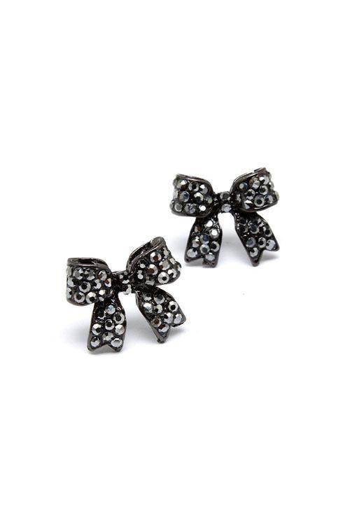 Crystal Bow Earrings In Hemae
