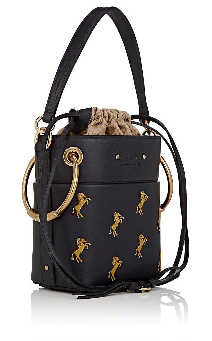 b1641bf858682 Chloe Roy Small Leather Bucket Bag - Blue 1 Sz