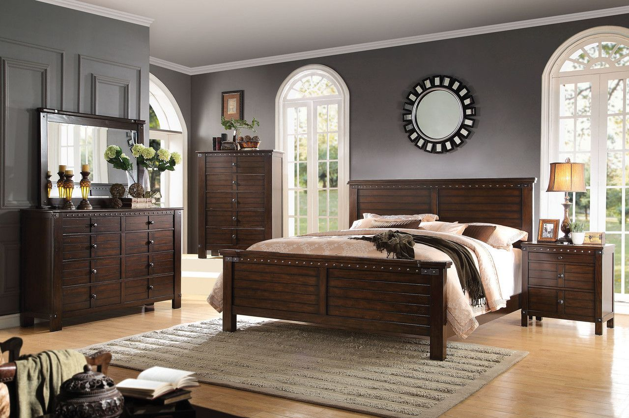 acme brooklyn espresso 4pcs eastern king bedroom sets master rh pinterest co uk