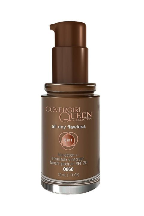 "First up in our list of the 6 best drugstore foundations that won't break the bank? Covergirl Queen Collection All Day Flawless Foundation  ELLE.com Senior Fashion Editor Nikki Ogunnaike says, ""The creamy product functions as a powder, concealer, and foundation which is nice for whenever I'm traveling and don't want to pack my full makeup arsenal."""