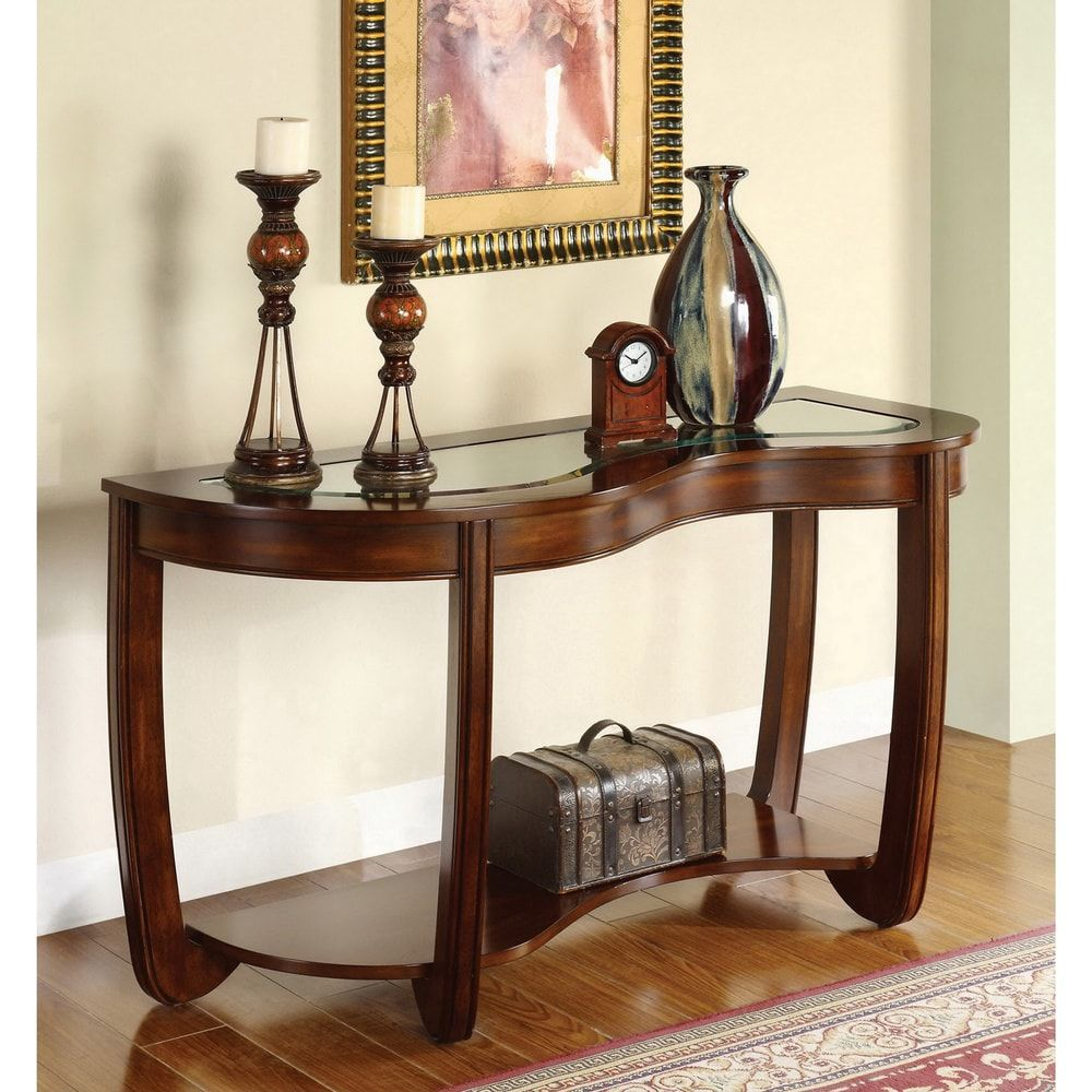 Furniture Of America Krow Transitional Cherry Solid Wood Sofa Table Glass Wood Cherry Brow Wood Sofa Table Furniture Of America Wood Furniture Living Room