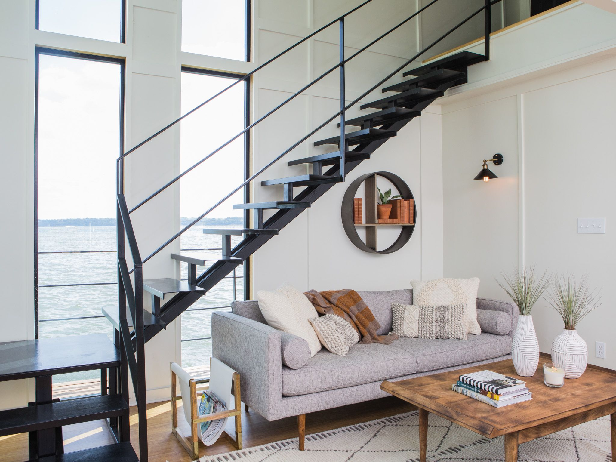 Modern beach living room - See The Incredible Houseboat Makeover Featured On Fixer Upper