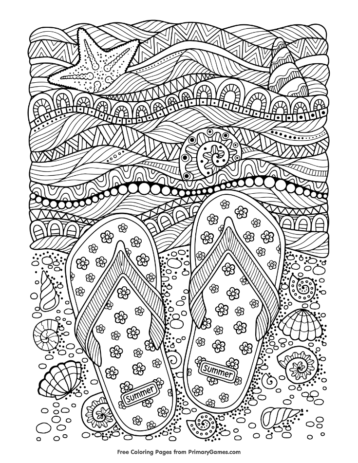 Summer Coloring Pages eBook: Flip Flops on Beach