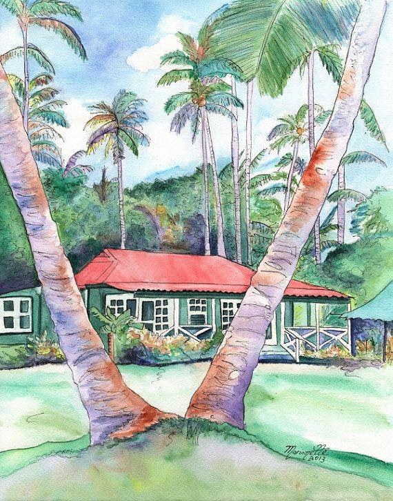 Kauai Plantation Cottage tirage de Kauai Hawaii furtivement entre les palmiers de 8 x 10