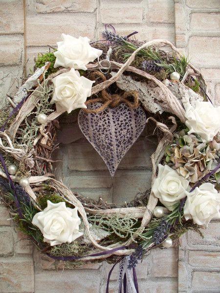 T rkranz reserviert rosen lavendel landhaus wreaths for Vintage weihnachtsdeko