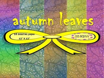 "autumn leaves11 Colored Digital Papers Textures Collection12"" x 12"" high resolution digital papers. Each sheet is a 300 DPI image great for printing.ZIP File contents:- 11 digital papers- JPG format 12x12 inchesThanks for stopping by!New products are 50% off during first 24 hours of posting!"