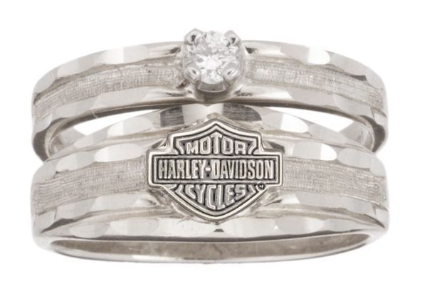 harley davidson womens wedding yellow gold 10k diamond ring rw712610d size9 - Biker Wedding Rings