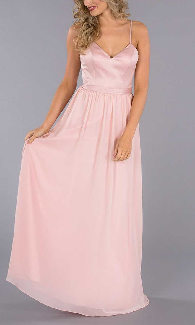 Elegant Blush Satin Bodice Pleated Long Chiffon A-Line Bridesmaid ...